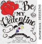 valentine's day typography art... | Shutterstock .eps vector #355555745