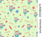 seamless pattern with cute owls ... | Shutterstock . vector #355580675