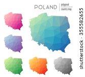 set of vector polygonal poland...   Shutterstock .eps vector #355582655