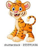 cute baby tiger cartoon | Shutterstock . vector #355591436