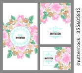invitation with floral... | Shutterstock .eps vector #355605812