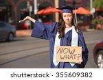 serious female student holding... | Shutterstock . vector #355609382