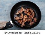 Fried Meat In A Frying Pan...