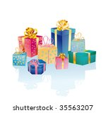 christmas gifts on a white...   Shutterstock .eps vector #35563207