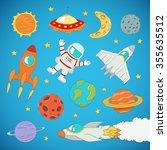 set of cartoon cute outer space ...   Shutterstock .eps vector #355635512
