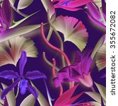 seamless tropical flower  plant ... | Shutterstock . vector #355672082