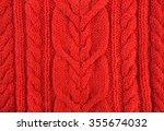 knitted orange natural wool... | Shutterstock . vector #355674032