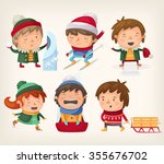 children playing winter games... | Shutterstock .eps vector #355676702
