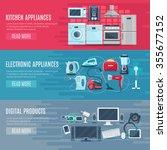 flat horizontal household... | Shutterstock .eps vector #355677152