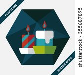 christmas candle flat icon with ... | Shutterstock .eps vector #355687895