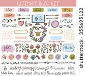blog design doodle elements... | Shutterstock .eps vector #355695122