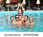 young people having fun in the... | Shutterstock . vector #355695686