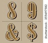 western alphabet letters... | Shutterstock .eps vector #355697582
