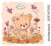 cute cartoon kitten on a meadow ... | Shutterstock .eps vector #355747352