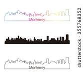 monterrey skyline linear style... | Shutterstock .eps vector #355768352