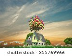 flying wooden house with... | Shutterstock . vector #355769966