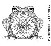 Hand Drawn Zentangle Frog For...