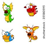 set of funny cartoon dragons... | Shutterstock .eps vector #35580595