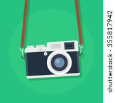 retro camera in a flat style on ... | Shutterstock .eps vector #355817942