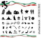 italian symbol set with flag... | Shutterstock .eps vector #355831502