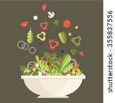 salad plate. ingredients.... | Shutterstock .eps vector #355837556