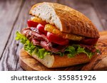 juicy steak sandwich with... | Shutterstock . vector #355851926