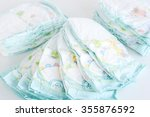 stack of diapers isolated on... | Shutterstock . vector #355876592