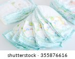 stack of diapers isolated on... | Shutterstock . vector #355876616