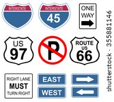 set of road and highway signs.  | Shutterstock .eps vector #355881146