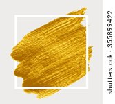 gold paint in white square.... | Shutterstock .eps vector #355899422