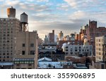 during sunrise the rooftops of... | Shutterstock . vector #355906895