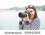 happy woman on vacation... | Shutterstock . vector #355932305