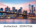brooklyn bridge at and the... | Shutterstock . vector #355947536