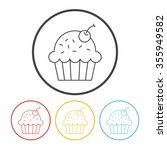 cupcake line icon | Shutterstock .eps vector #355949582