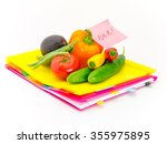 present of vegetables and... | Shutterstock . vector #355975895