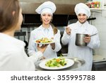 smiling waitress taking dish... | Shutterstock . vector #355995788