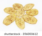 dried banana slices coated with ... | Shutterstock . vector #356003612