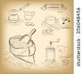 coffee set  bag  cup  scoop ... | Shutterstock .eps vector #356048456