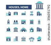 houses  home  buildings  icons  ... | Shutterstock .eps vector #356051792