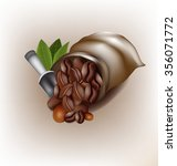 coffee poured out of the sack... | Shutterstock .eps vector #356071772