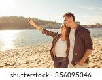 couple in love making selfie... | Shutterstock . vector #356095346