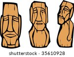 Group of mixed styled Easter Island Moai heads. - stock vector