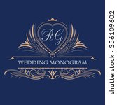 vintage vector monogram....   Shutterstock .eps vector #356109602