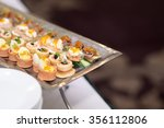various of canape selection on... | Shutterstock . vector #356112806