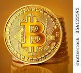 golden bitcoins on a gold...   Shutterstock . vector #356122592