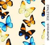 blue tropical butterflies and... | Shutterstock .eps vector #356127662