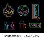 set of retro style neon light... | Shutterstock . vector #356142242