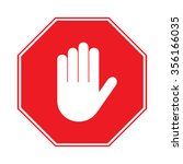 stop sign. no entry. hand sign... | Shutterstock . vector #356166035