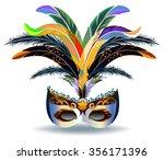 silver festival carnival mask... | Shutterstock .eps vector #356171396