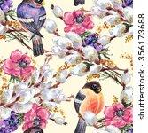 bird bullfinch  willow ... | Shutterstock . vector #356173688